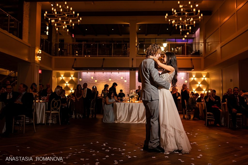 First dance of the bride and groom at wedding reception at the Lucy by Cescaphe