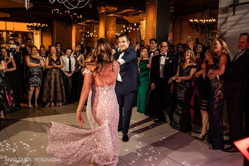 first dance of the bride and groom at Cescaphe wedding venue in Philadelphia