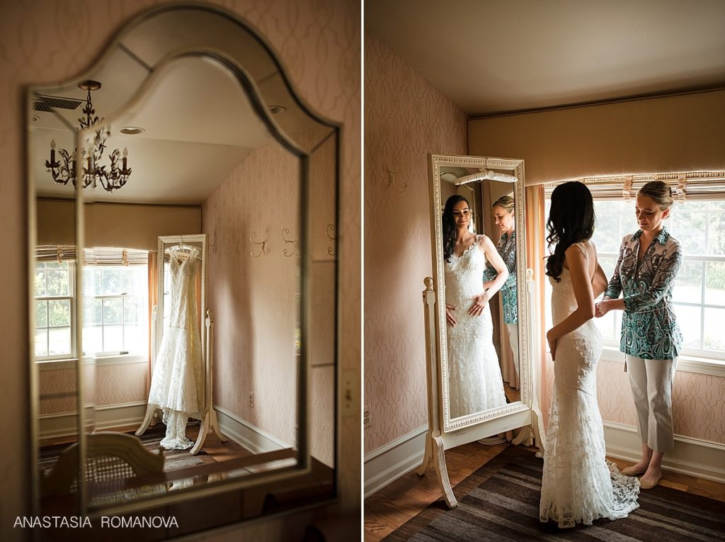 bride in bridal suite at crossing vineyards and winery